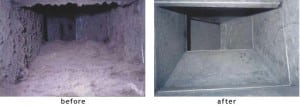 hvac ductwork before and after cleaning