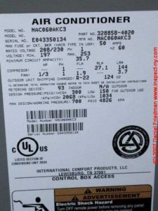 r-410a refrigerant a/c tag