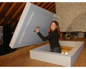 attic access pull down door insulation