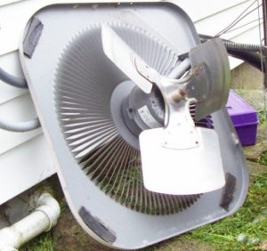 photo of a/c outdoor condenser unit fan