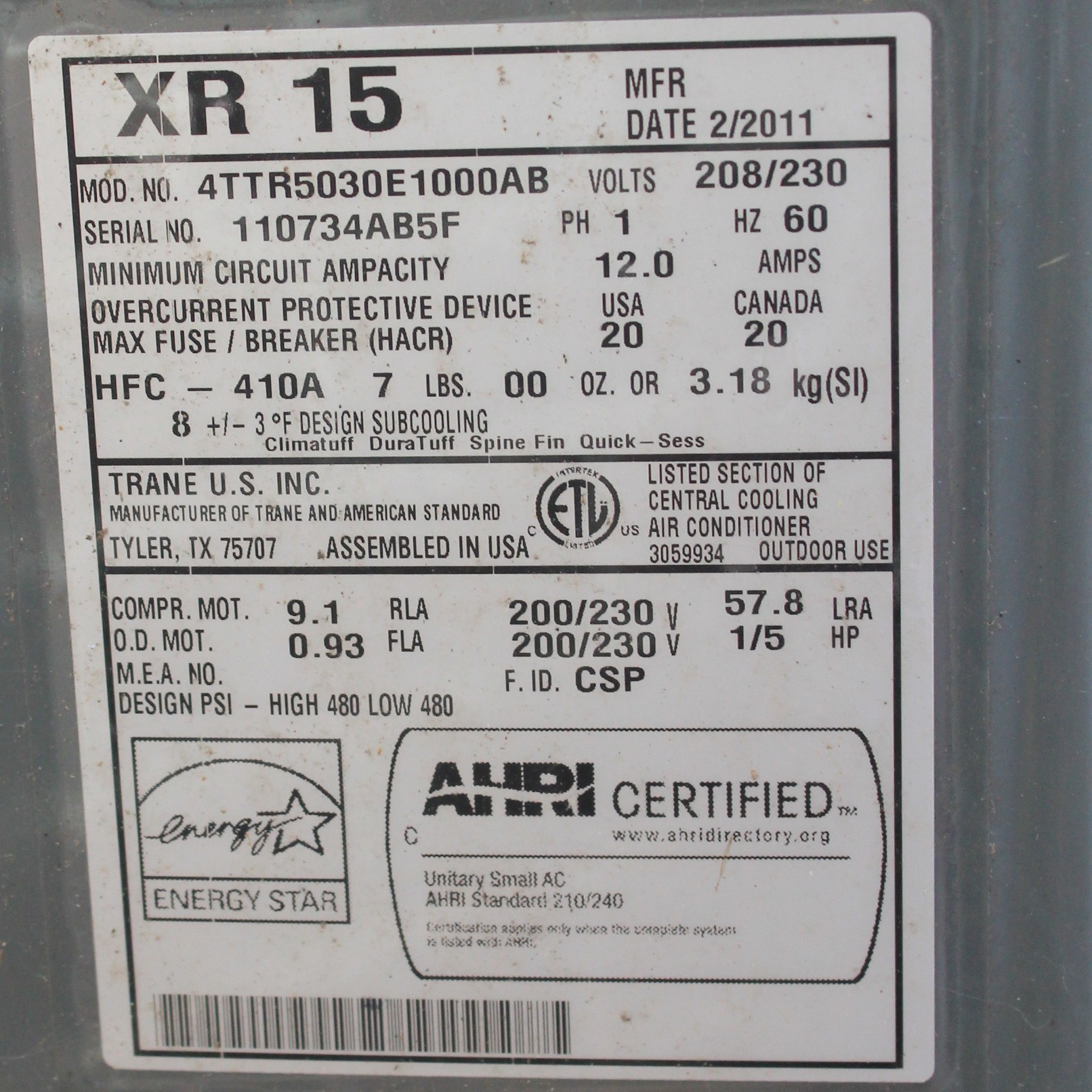 a/c which uses r-410a refrigerant
