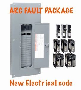 photo of electrical service panel and Arc Fault Circuit Interrupters
