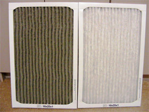 dirty and clean furnace air filter