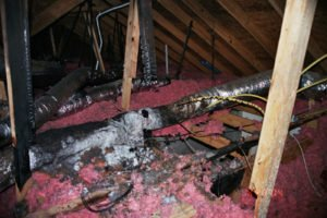 attic fire showing damaged csst gas lines