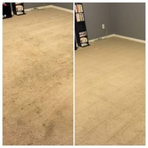 stained carpet before and after cleaning