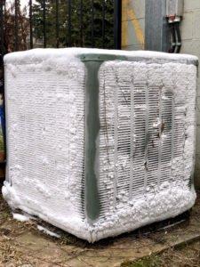 frozen outside air conditioner unit