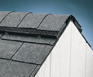 close up photo of continuous ridge vent attic ventilation system
