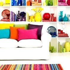decor many bold accent colors side by side