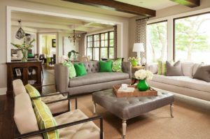 room with alternating neutral colors and bold accent colors