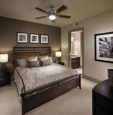 beige walls with a darker accent wall