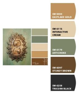 color sample with beige and accent colors