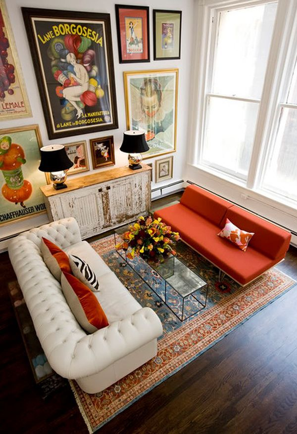 room with colorful furniture and art