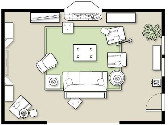 software generated room and furniture layout diagram