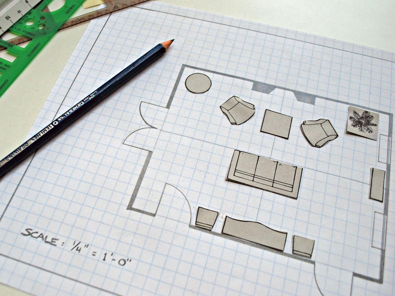 grid paper with to-scale furniture placement