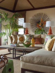 home with transitional furniture and tropical decor