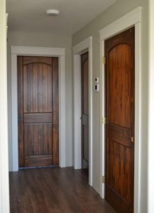 white trim with stained doors