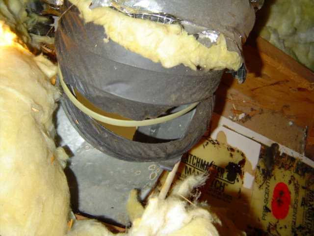 flexible ductwork that has failed and is leaking a lot of air