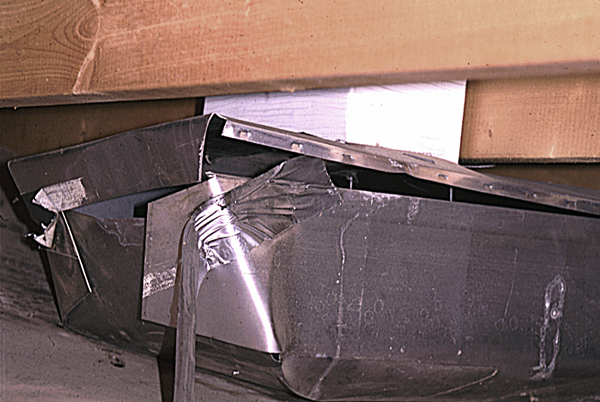 disassembled and leaking hvac ductwork
