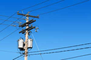 electricity distribution lines with transformers