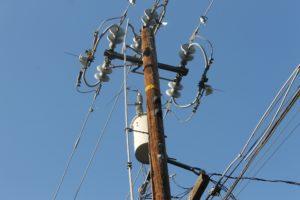 electricity transformer on pole