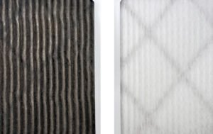 dirty air filter on left. New air filter on right.
