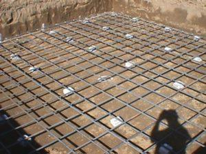 photo of rebar in slab foundation