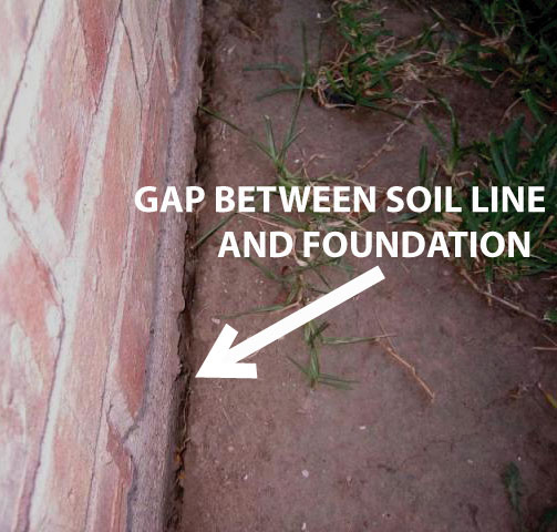 gap between soil and foundation means soil is too dry