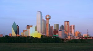 dallas skyline showing fountain place office tower on left
