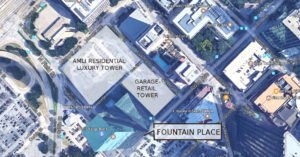 map showing location of fountain place office tower and new apartment high rise in dallas texas