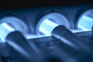 photo of properly working gas burners in a gas furnace
