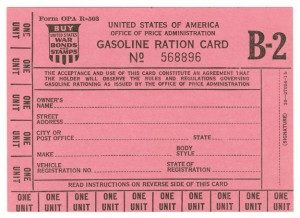 gas ration card used during world war 2