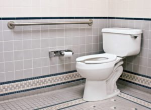 toilet with grab bar installed