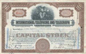 iternational telephone and telegraph stock certificate
