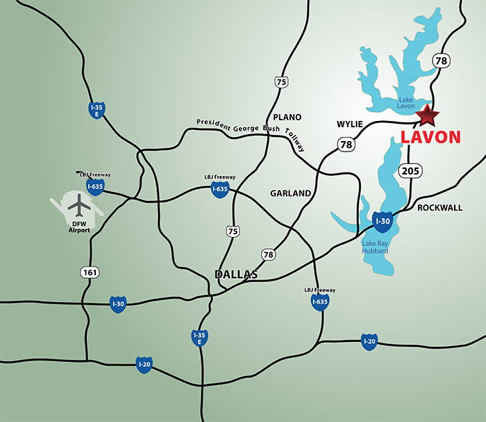 lavon texas location on map
