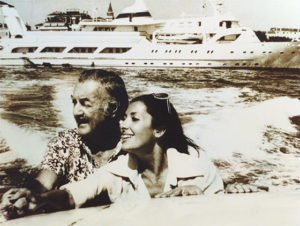 William J. Levitt builder of Levittown, NY and 3rd wife Simone in front of their 237 foot yatch