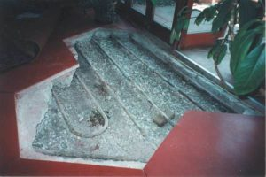 opened floor view of radiant floor heating coils