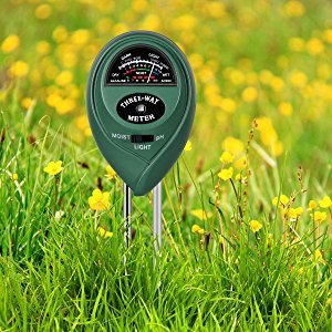 photo of moisture meter pushed into the ground