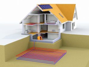 net zero house diagram with geo thermal heat and solar panels