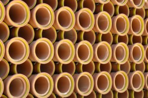 photo of clay sewer pipes