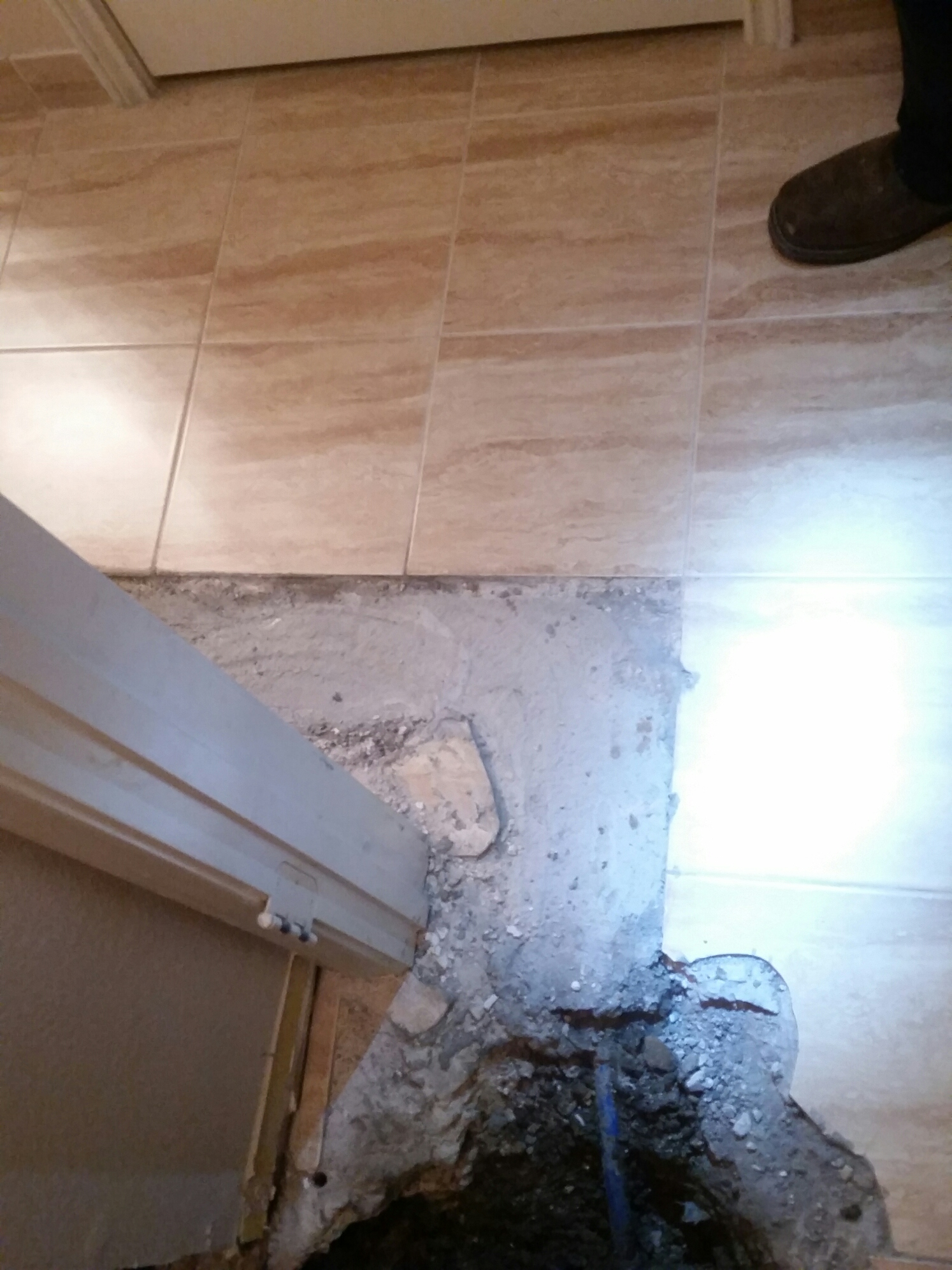 illegal slab leak repair not up to code reopened to correct failed repair