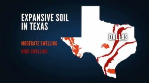 graphic showing location of expansive soils in texas