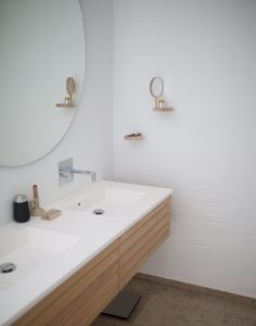 bath vanity with square inset bowls
