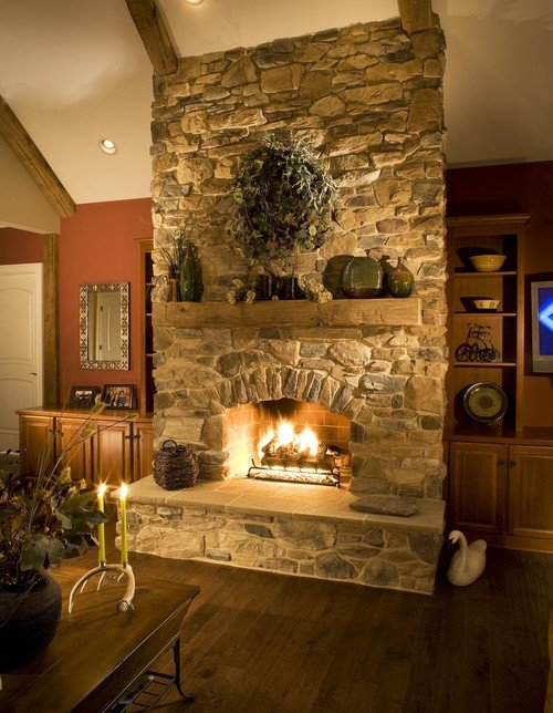 lighting to highlight a fireplace
