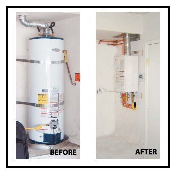 tank water heater and tankless water heater photos