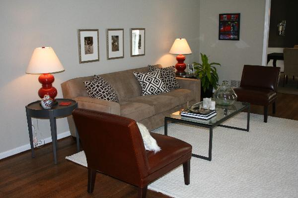 end tables on each side of sofa