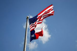 state of texas and u.s. flag