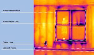 thermal image of air leaking past and around a window
