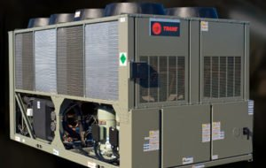 photo of a large trane brand chiller for air conditioning