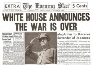 newpaper front page announcing world war 2 was over