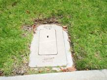 city water meter box at the street's curb